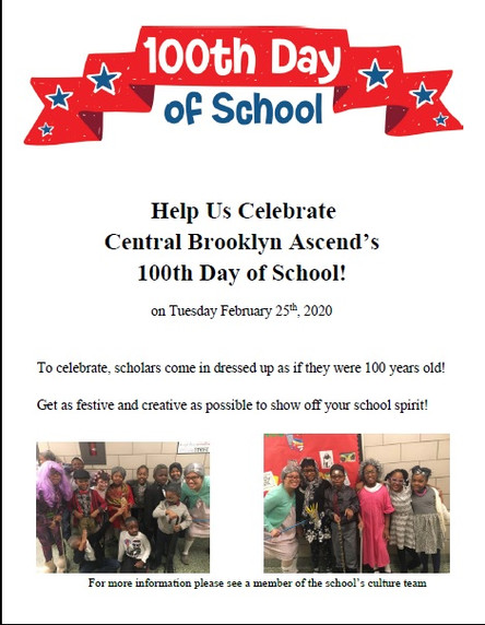Celebrate the 100th Day of School on Tues. February 25th!