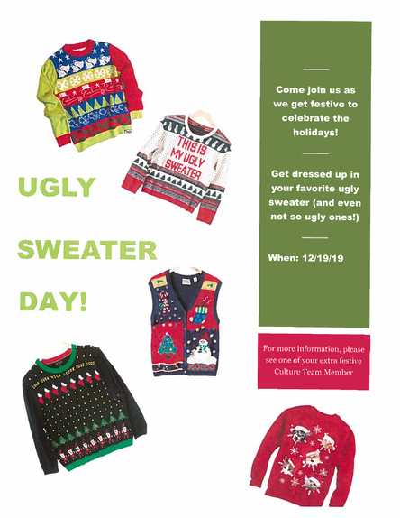 Ugly Sweater Day - Wed. December 19th