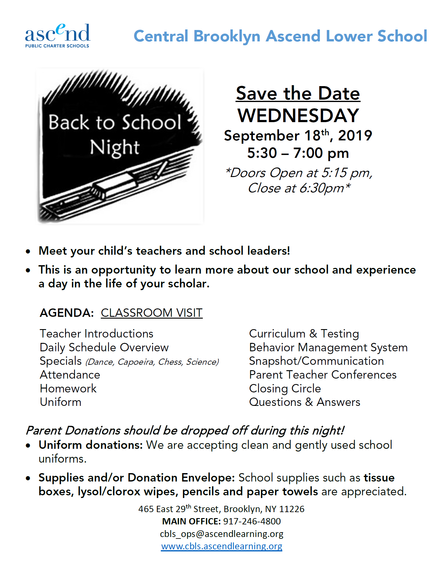 Join us for Back to School Night - Wed. September 18th, 2019