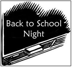 Back to School Night - Wednesday, September 19th