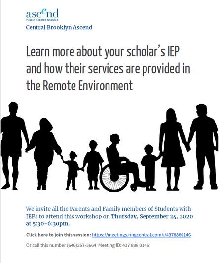 Parent Workshop:  Understanding your Scholar's IEP - 9.24.20