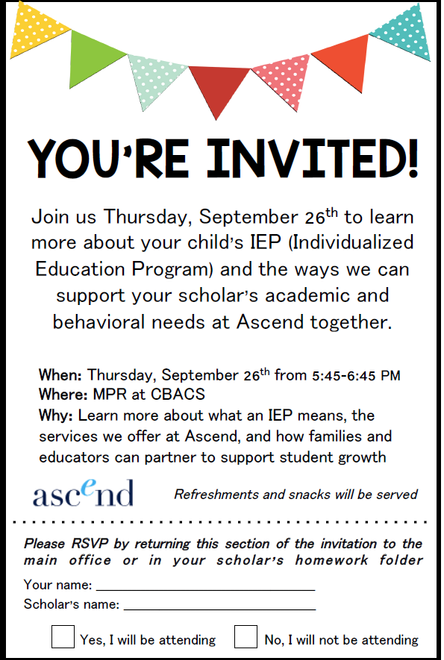 Parent Workshop:  Learn more about your child's IEP and how you can help your scholar - Thurs. S
