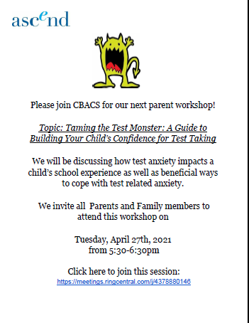 Parent Workshop: Taming the Test Monster - Tues. 4/27 @ 5:30pm