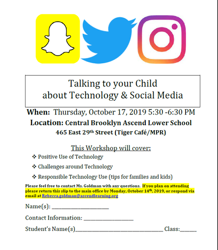 Parent workshop:  Technology & Social Media - Thursday, October 17th