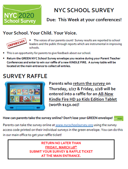 Complete your NYC School Survey & Enter for a chance to win a Kindle for your scholar during PTC