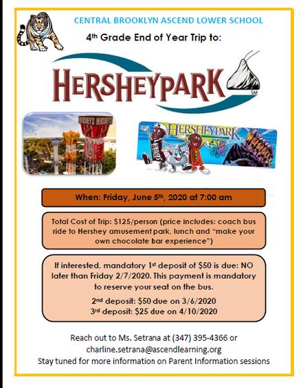 Hershey Park - 4th Grade Senior Trip - Fri. June 5th