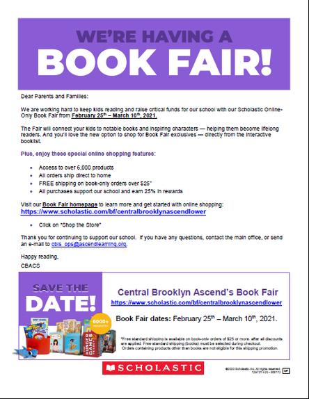 CBACS' SCHOLASTIC VIRTUAL BOOK FAIR - Shop from 2/15-3/10!