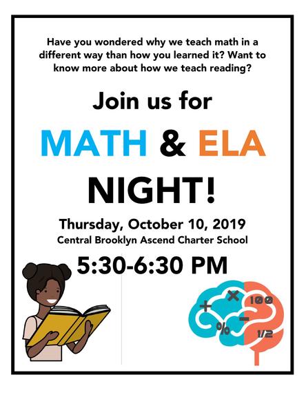 Parent workshop - Math & ELA Night - Thursday, October 10th