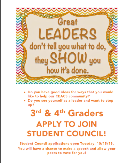 Calling 3rd/4th grade Student Council Leaders! Application opens on Tues. 10/15 and will be sent hom