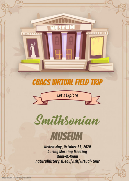 Virtual Field Trip to the Smithsonian on Wed. October 21st!