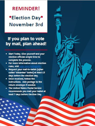 Election Day! Tues. November 3rd - Plan Ahead!