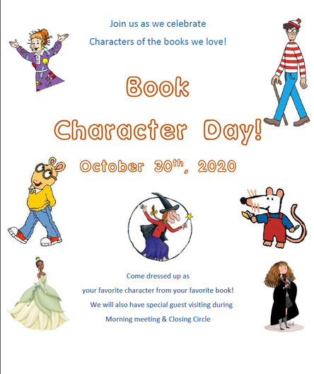 Book Character Day - Fri. October 30th!