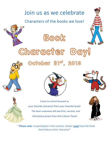 Book Character Day - Wed. October 31st!