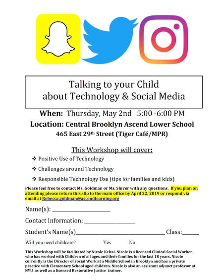 Parent Workshop - Technology & Social Media