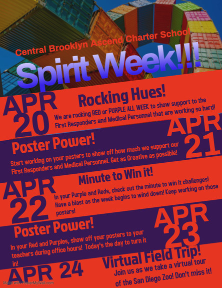 It's Spirit Week at CBACS!  Join the Fun starting on Mon. April 20th!