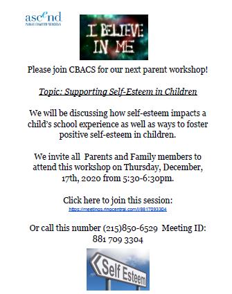 Parent Workshop:  Supporting Self-Esteem in Children - Thurs. 12/17