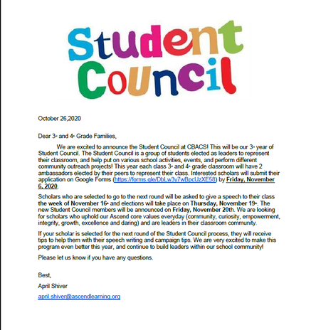 STUDENT COUNCIL ELECTIONS!  Be part of student government at CBACS!