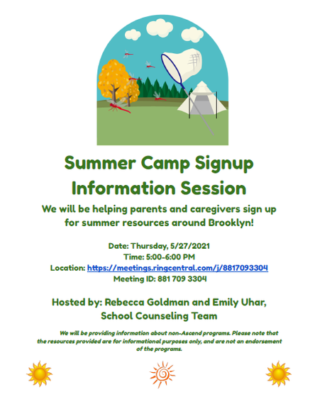 Summer Camp Sign-Up Info Session - this Thursday, 5/27 @ 5pm!