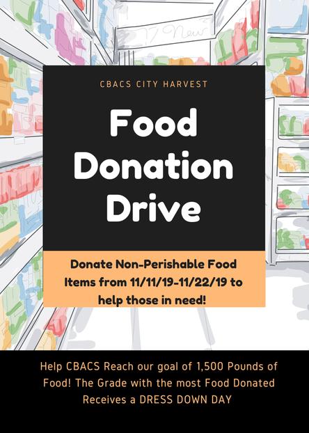 CBACS CITY HARVEST FOOD DRIVE - November 11-22, 2019