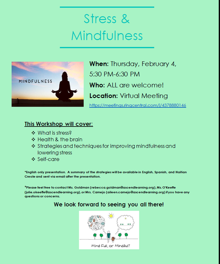 Parent Workshop - Stress & Mindfulness - Thurs. Feb. 4th @ 5:30pm