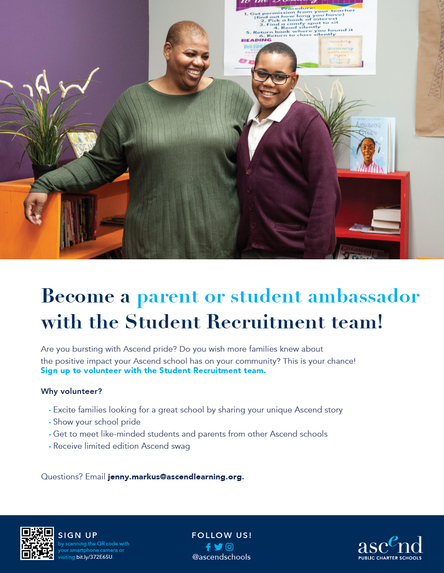 Become an Ascend Parent or Student Ambassador!         Click on the pic and complete the form to get