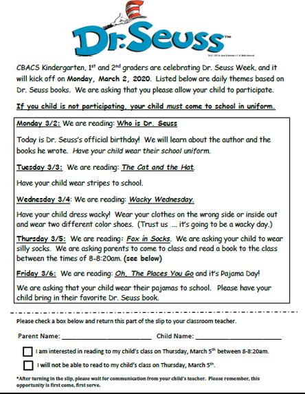 Gr. K-2: Dr. Seuss Week Celebration - March 2nd - 6th