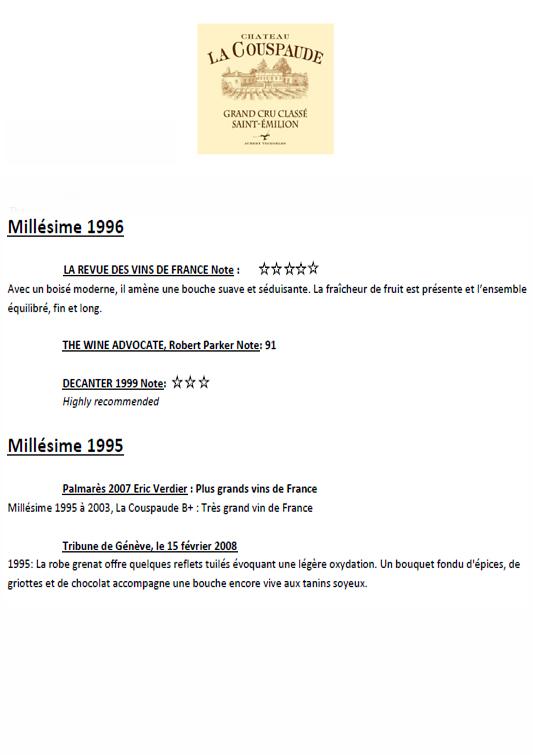 Château La Couspaude 1996 & 1995