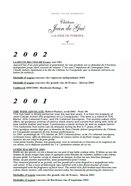 Château Jean de Gué 2002 & 2001