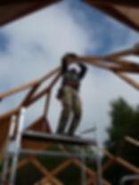 construction du zôme - pose des losanges.J