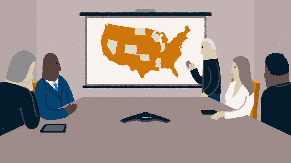 Cartoon characters in a conference room look at a map of the United States