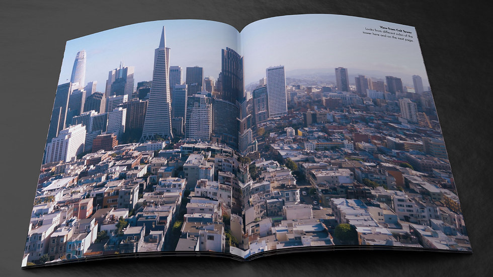 Skyline photo of San Francisco in a magazine spread