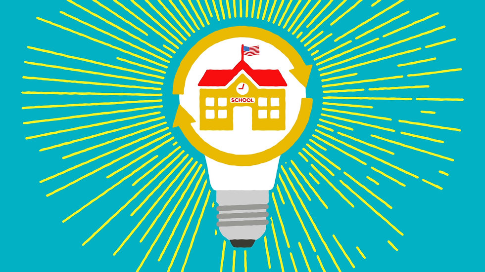 Fresh ideas about schools illustrated using a lightbulb.
