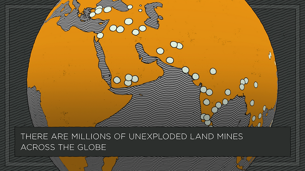 Illustrated globe showing land mine locations
