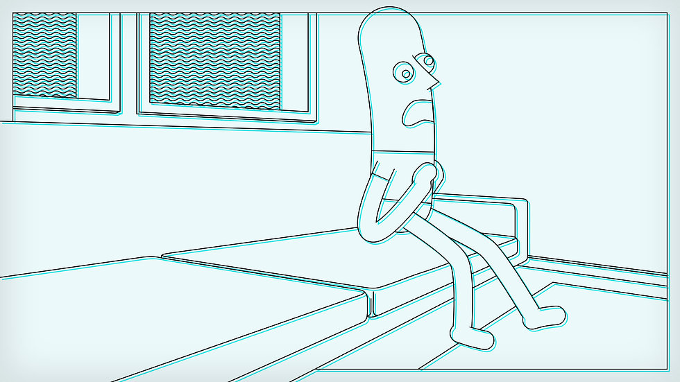 Animated character having a heart attack on the sofa