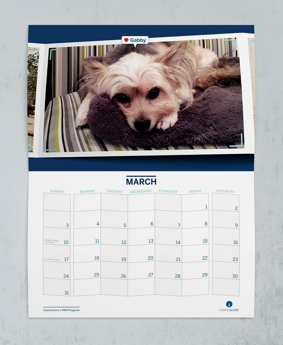 Cut dog on calendar page designed by EDLUNDART