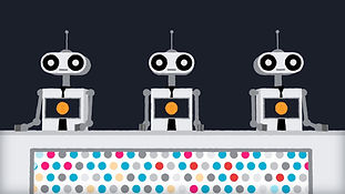 Three robots from an animation about robo advisors, software platforms that manage your money