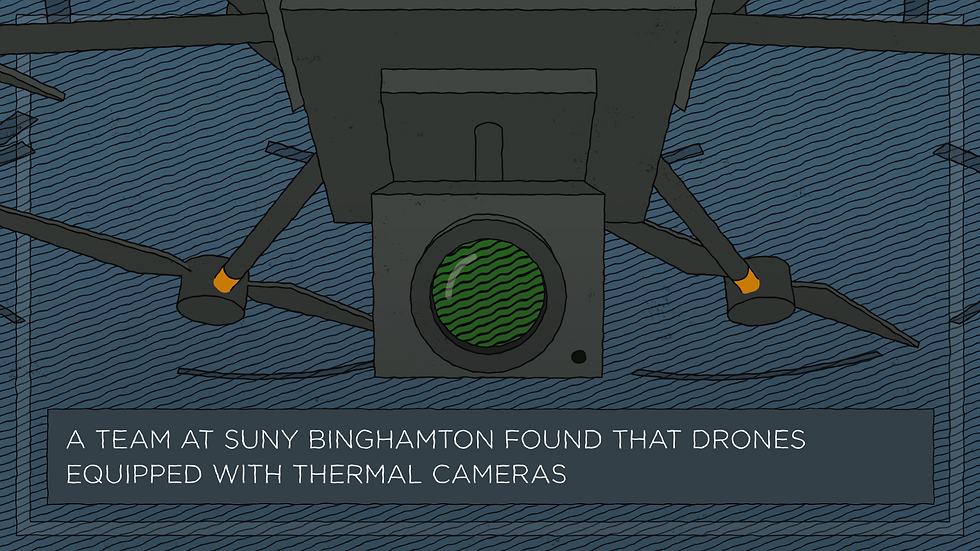 Illustration of a drone with thermal camera onboard