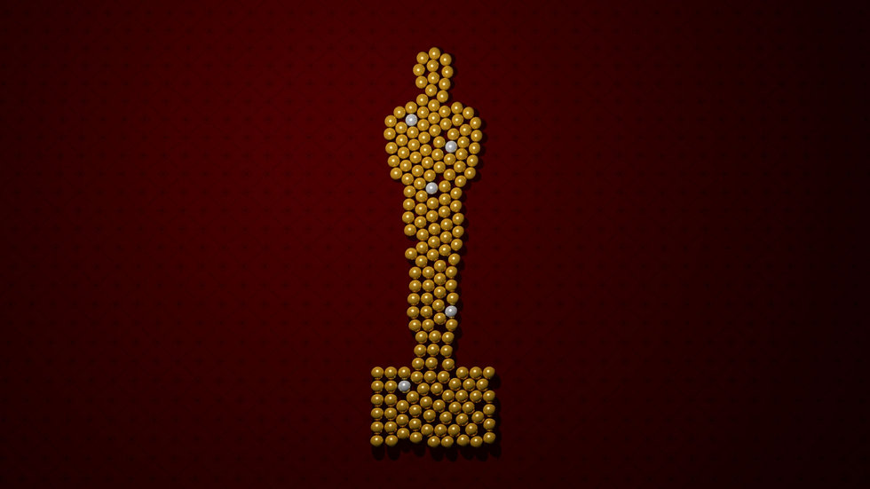 Lots of 3D marbles brought together to form an Oscar statue, as part of a data visualization