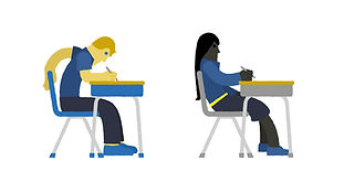 Illustration of two students at their desks