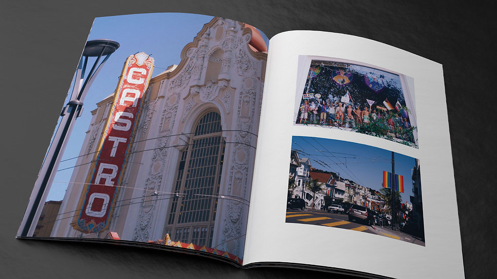 Print magazine spread with pictures from the Castro neighborhood of San Francisco