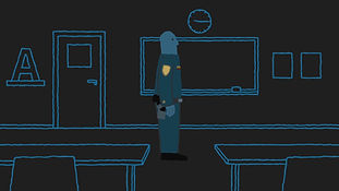 A police officer in a class room, from an animation by Bard Edlund / EDLUNDART