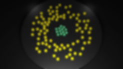 Green and yellow pucks arranged to represent data about who shoulders the burdens of war