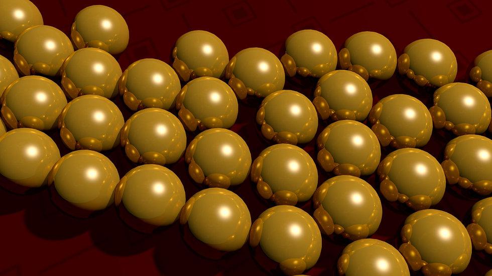 Gold marbles closeup