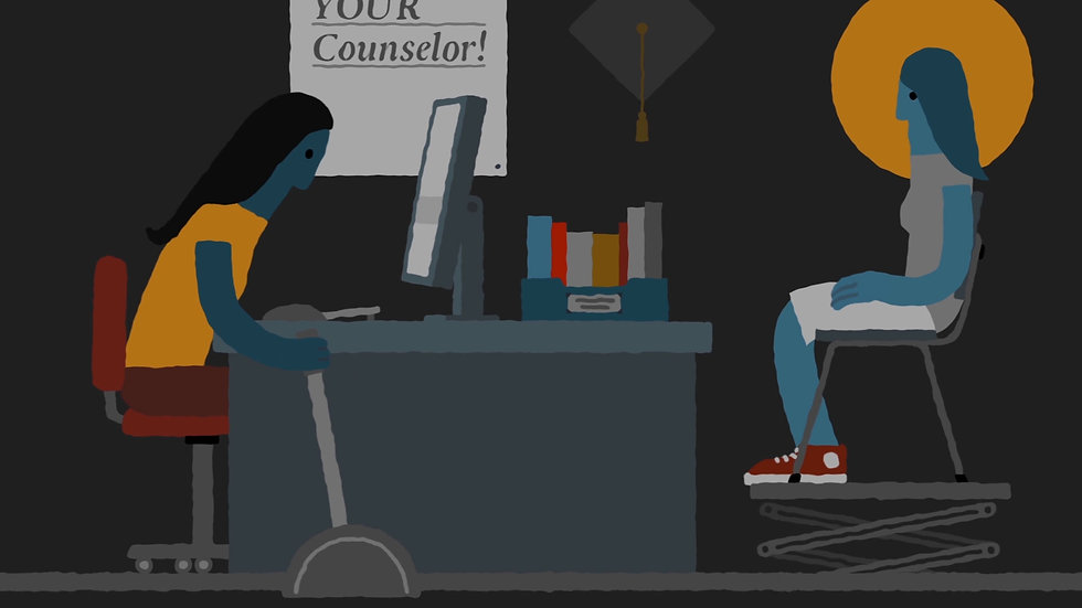 A counselor helps a student in illustration from an animated video