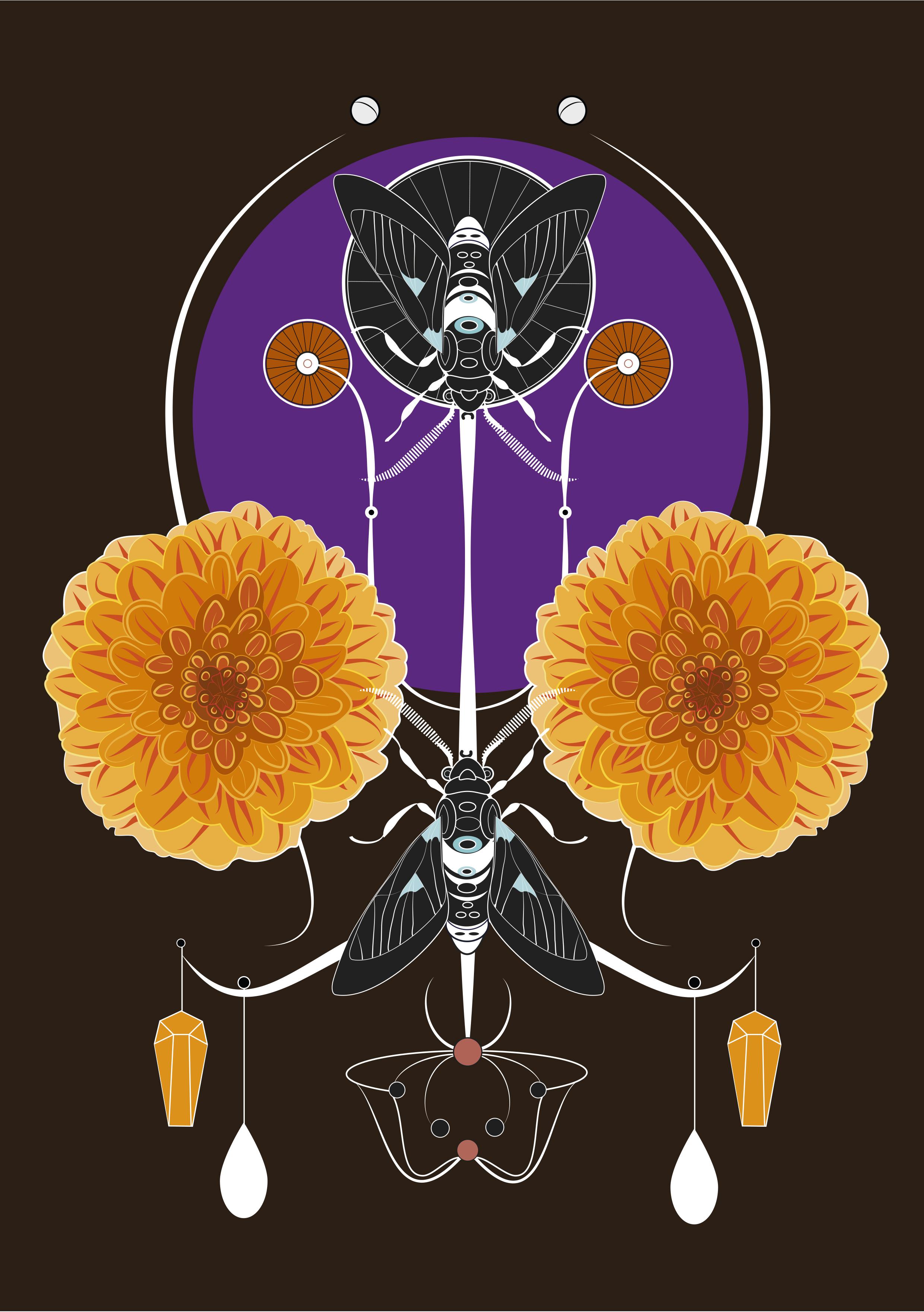 Dahlias et mouches noires