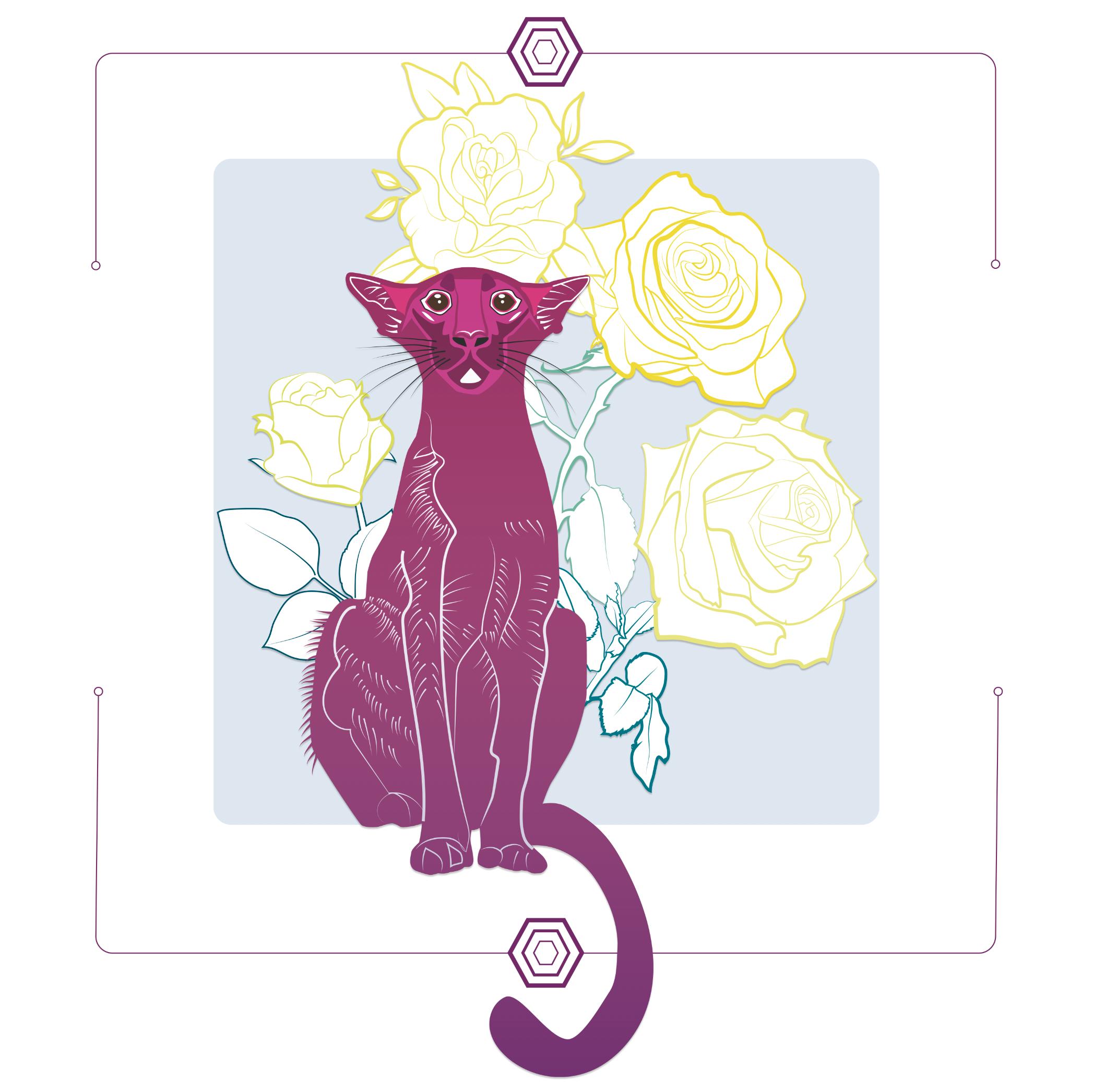 Roses jaunes et chat rose