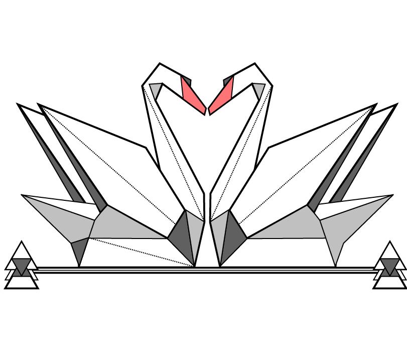 Cygne des sœurs origami