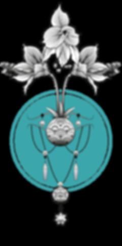 Illustration fleur bleu vert Amarylis