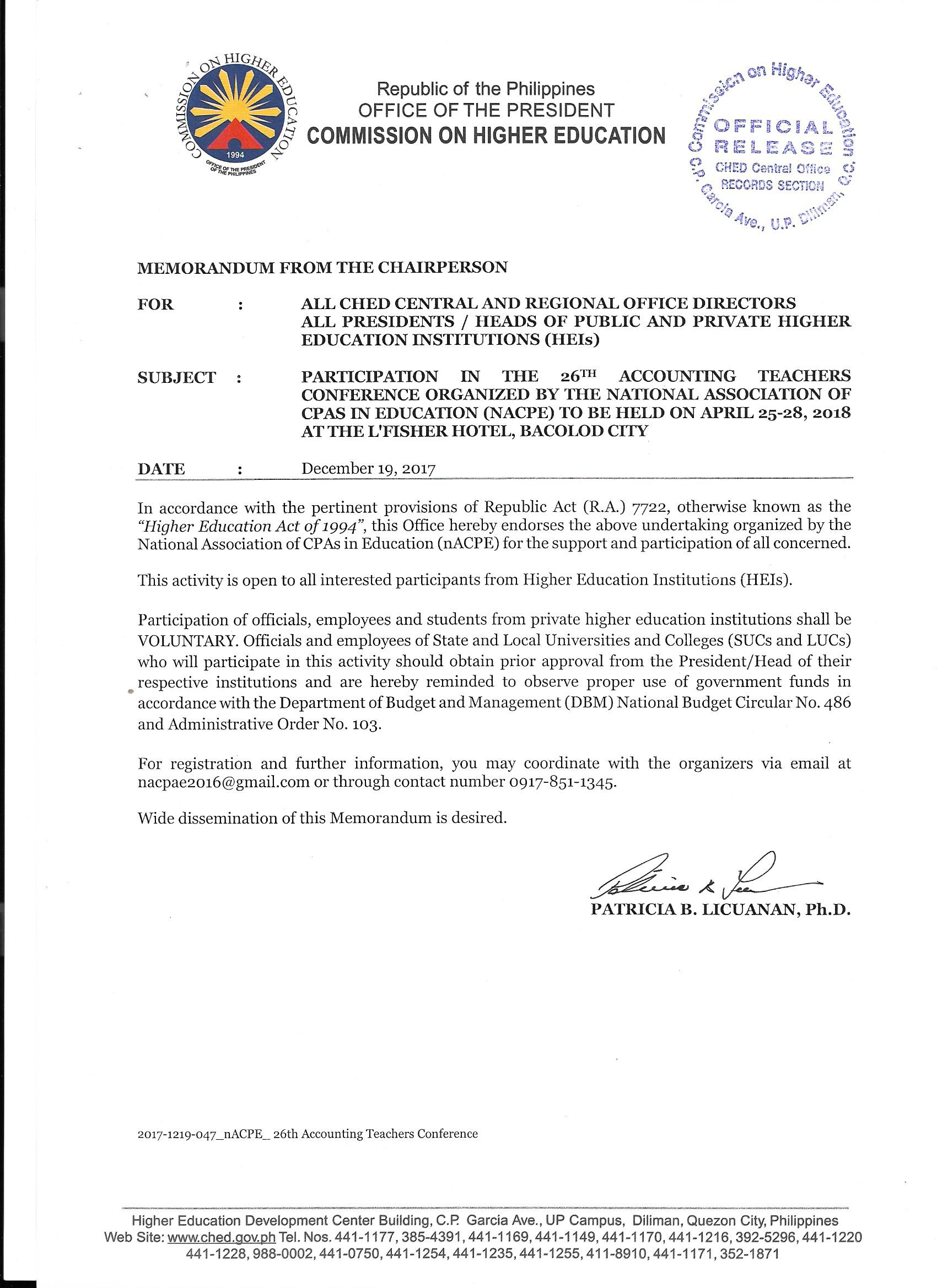 CHED Endorsement for 26th ATC