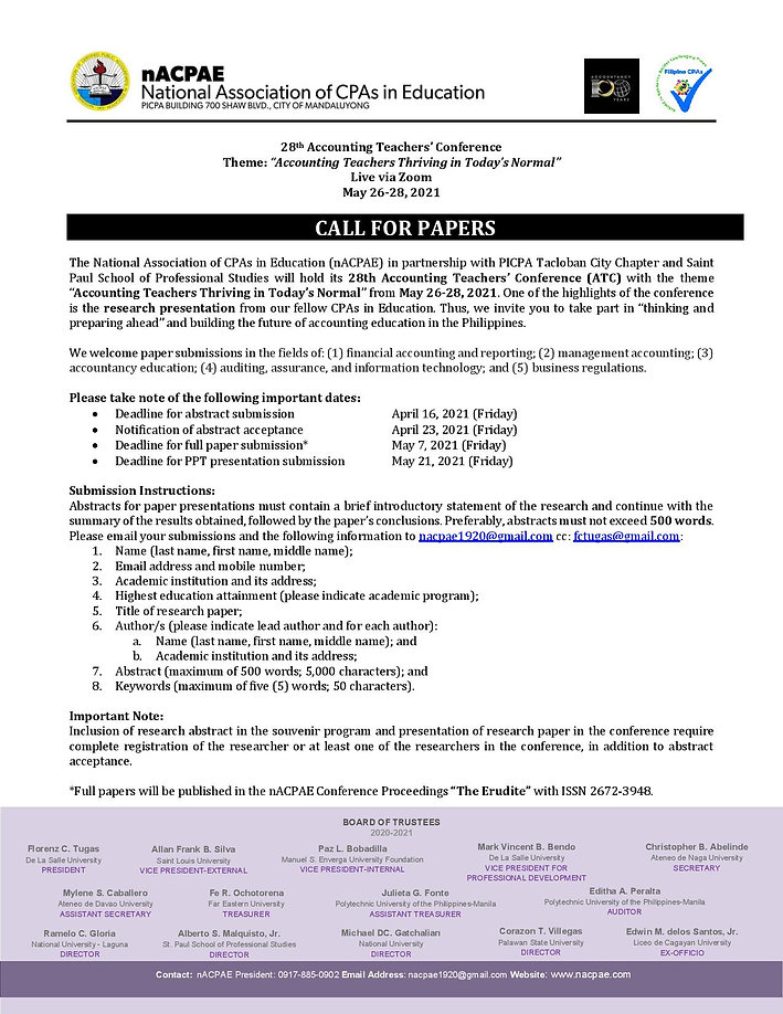 28th ATC Invitation and Call for Papers